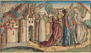 The destruction of Sodom as depicted in the Nuremberg Chronicles